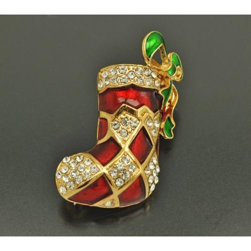 """БРОШЬ """"Рождество"""" Эмаль Стразы"""