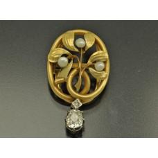 Старинный КЛИП / КУЛОН золото бриллиант Франция Модерн
