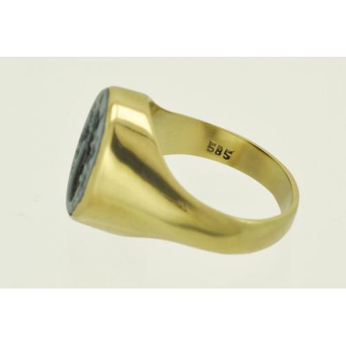 ПЕРСТЕНЬ с печатью золото 585 пробы Инталия Оникс