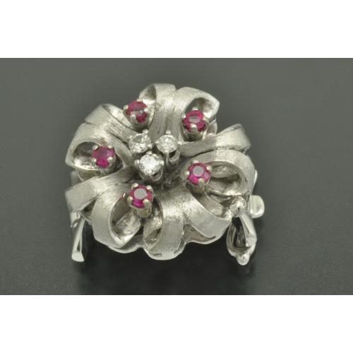 КЛИП для жемчужного колье золото 585 пробы Бриллианты Рубины