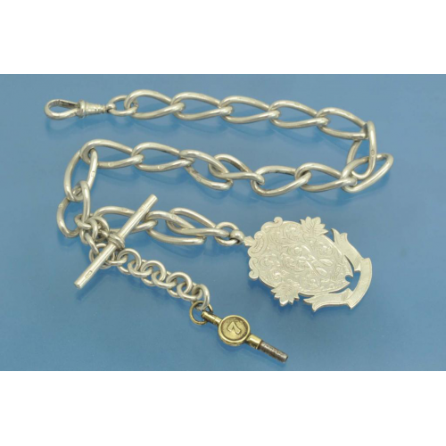 Старинная ЦЕПОЧКА для карманных часов серебро Sterling 925 пробы Англия