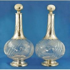 Два старинных ГРАФИНА стекло / серебро 925 Франци