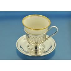 КОФЕЙНАЯ ПАРА чашка блюдце серебро Sterling