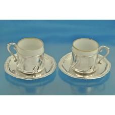 Две КОФЕЙНЫЕ ПАРЫ чашки блюдца серебро 800 пробы