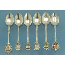 6 кофейных ЛОЖЕК серебро 800 пробы эмаль