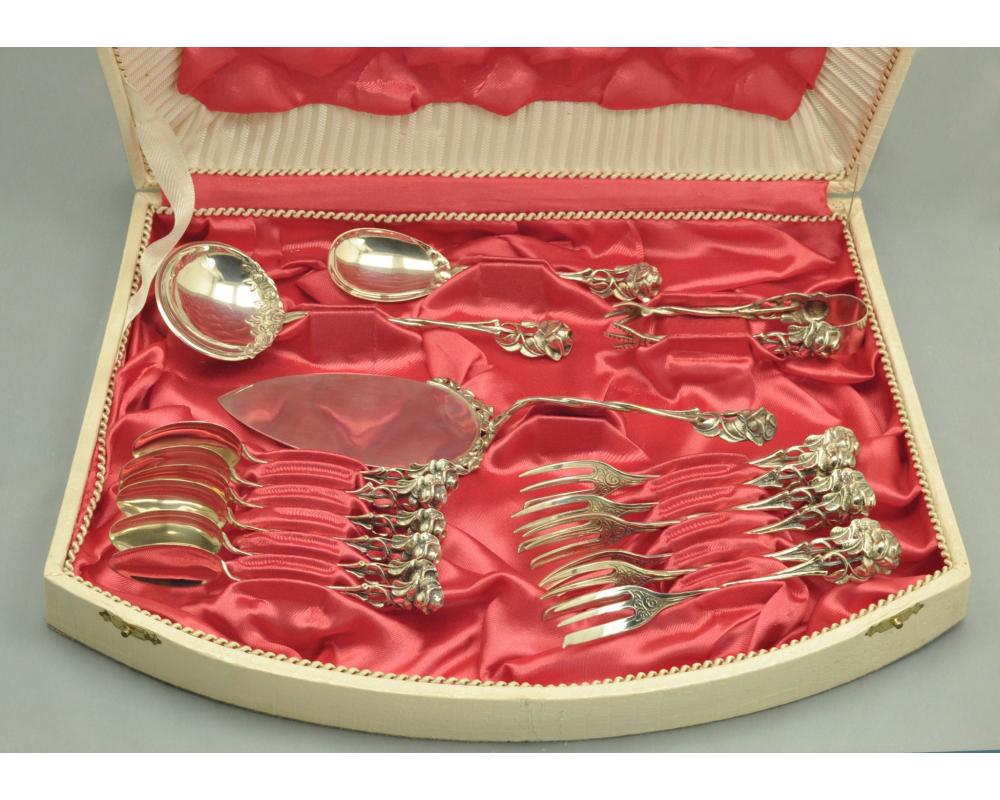 16 предметов ДЕСЕРТНЫЙ НАБОР серебро 835 пробы Роза