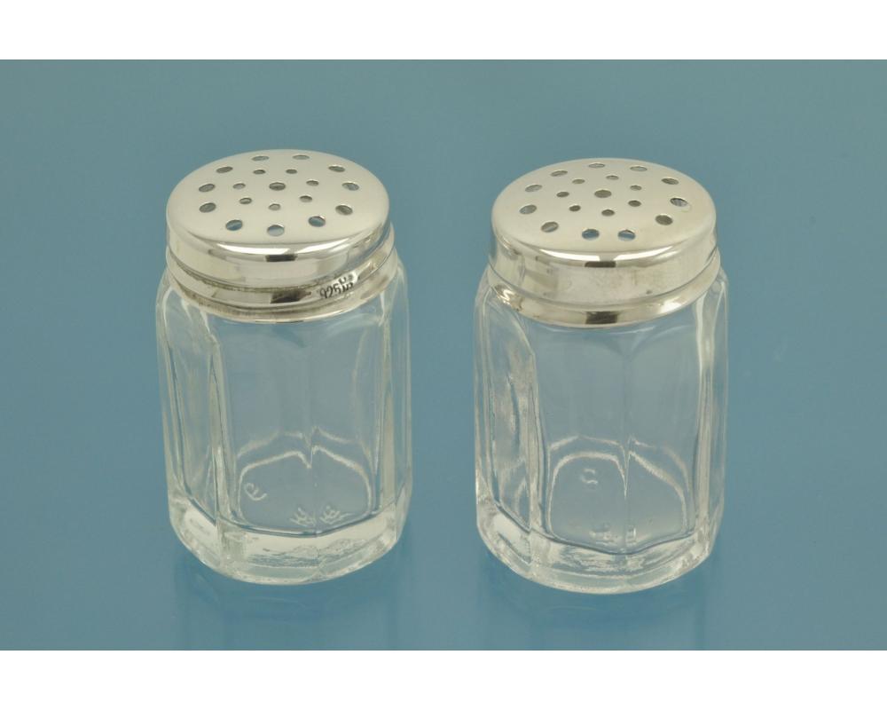 2 СОЛОНКИ серебро 925 пробы / стекло