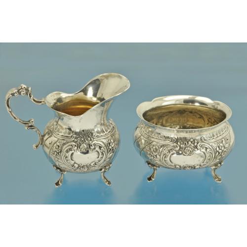 САХАРНИЦА + СЛИВОЧНИК + ПОДНОС серебро 800 пробы